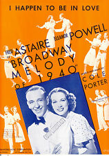 "BROADWAY MELODY 1940 Sheet Music ""I Happen To Be In Love"" Fred Astaire"