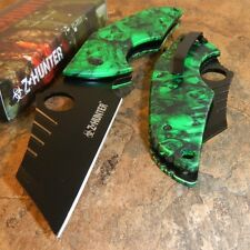 ZOMBIE HUNTER Spring Assisted Opening GREEN SKULL CAMO Folding Pocket Knife