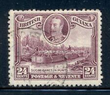 BRITISH GUIANA 216 SG294 Used 1934 24c KGV Defin Sugar Cane in Punts Cat$15