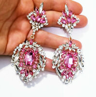Pink Chandelier Drop Earrings Rhinestone Crystal 4 inch Oversized