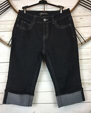 Flavour Jeans Cropped Capri Cuffed Rolled Denim Size 18 Dark Indigo Chambray
