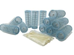 Traditional Brush Rollers Hair Curlers With Pins Blue 22mm x 76mm