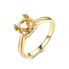 Solid 14K Yellow Gold Prong Setting Round 8mm Semi Mount Wedding Solitaire Ring