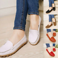 Simple Women Leather Flats Shoes Slip On Comfort Shoes Flat Shoes Loafers NEW