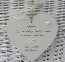 Bridesmaid wedding gift keepsake shabby handcrafted personalised 15cm