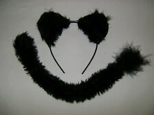 Halloween Fancy Dress Black Panther/Jaguar/Wild Cat Fur Ears & Clip On Tail Set