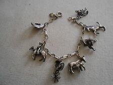 Vintage Sterling Silver Southwest Cowboy Charm Bracelet  129028