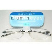 +1.00  Magnivision Alumineyes Rimless Reading Glasses