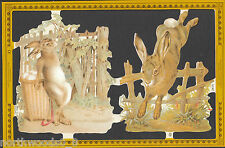 Easter Rabbit Fence Bunny Scrap Paper Embossed English Diorama Paper Mache Card