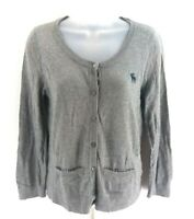 ABERCROMBIE & FITCH Womens Cardigan Jumper Jacket L Large Grey Cotton Nylon