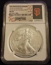 2014 SAN FRANCISCO GIANTS SILVER EAGLE NGC MS-69 WORLD SERIES!!! SUPER NICE!!!