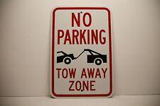"No Parking Tow away Zone Sign (logo) White EG Reflective.063 Aluminum 12"" x 18"""