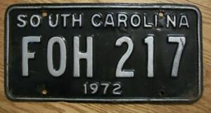SINGLE SOUTH CAROLINA LICENSE PLATE - 1972 - FOH 217