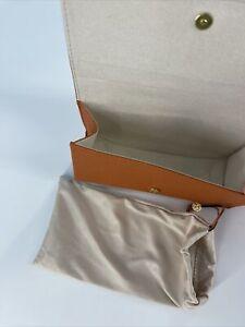 Tory Burch Saffiano Orange Leather Eyeglass Case & Pouch Logo