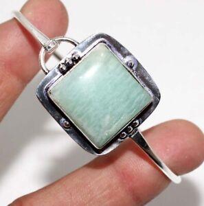 Amazonite 925 Silver Plated Gemstone Handmade Bangle Gift Jewelry GW