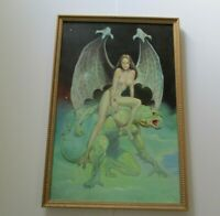 LARGE COMIC ART PAINTING FANTASY FLIGHT CEATURES NUDE WINGED WOMAN WOMEN WILD