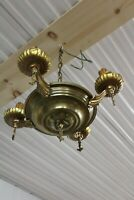 Antique 4 Arms Ceiling Pan Light Fixture Chandelier Lamp Restoration Project