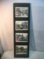 Vintage Print Currier and Ives Winter Spring Summer Fall in Wood Frame 30in x 9i