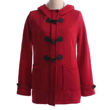 Plus Size Womens Winter Button Hoodies Coat Jacket Hooded Overcoat Tops Sweater