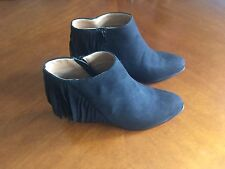 Forever New Size 37 Black Suede Fringed Ankle Boots Rrp$90