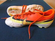 Nike Mercurial Football Boots Size 4 White, Yellow & Orange with Moulded Blades.