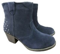 GIRLS FAUX SUEDE COWBOY ANKLE BOOTS ZIP UP STUD DETAIL NAVY UK 11-12