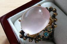 LARGE OVAL PINK ROSE QUARTZ TURQUOISE GOLD 925 SILVER DESIGNER RING SZ N 7/7.25