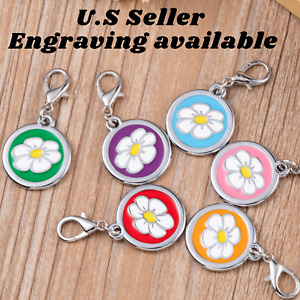 Buy 4 Get 1 Free √ Flower Dog Tag Tags Cat Tags Key chain Engraved Personalized