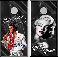 Elvis & Marilyn combo Custom Cornhole board game decal wraps bean bag party