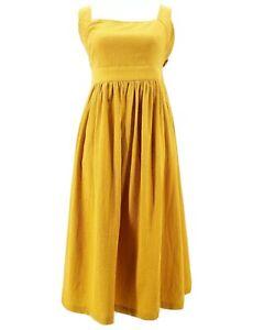 ANTHROPOLOGIE NUMPH Criss Cross Back Strap Mustard Yellow Summer Dress XS S M L