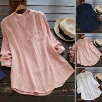 ZANZEA Women Long Sleeve Buttons V Neck Casual Shirt Tops Oversize Blouse Plus