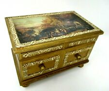 Vintage Wood Music Jewelry Box Japan Gold Fly Me To The Moon works
