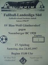 Programm 1996/97 Blau Weiß Günthersdorf - Naumburger BC