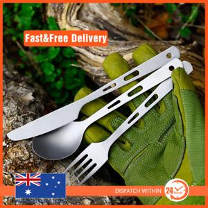 Titanium 3 Piece Knife Fork Spoon Camping Hiking Survival Cutlery Set w/t pou...