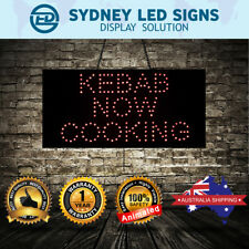 Animated LED NEON Motion Flash Open Business Sign KEBAB NOW COOKING :48CMX24CM