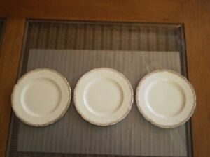 VINTAGE1920's ALFRED MEAKIN ENGLAND ROYAL MARIGOLD CREAM & GOLD SIDE PLATES X 3