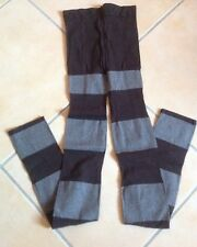 LEGGINGS COLLANT MODA A RIGHE TINTE MARRONE TG. UNICA