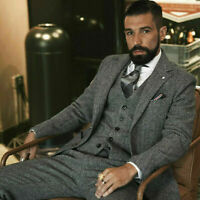Gray Men's Wool Suit Vintage Herringbone Tweed Check Tuxedo Formal Prom Suit