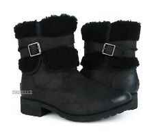 UGG Blayre III Black Leather Fur Boots Womens Size 8.5 *NEW*