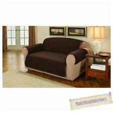 Brown Quilted Faux Suede 3 Seater Sofa Armchair Furniture Protector Slipcover