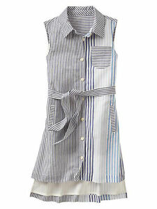 New Gap Kids Girl Colorblock Blue Grey White Striped Sleeveless Shirt Dress 6 7