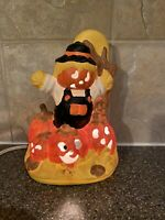 """Lighted Halloween Pumpkin Scarecrow House of Lloyd 1989 Ceramic Roll Switch 7"""""""