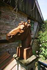 Skulptur Pferdekopf, eindrucksvoll, Lebensgröße, Mauerkrone Pferd Rostoptik