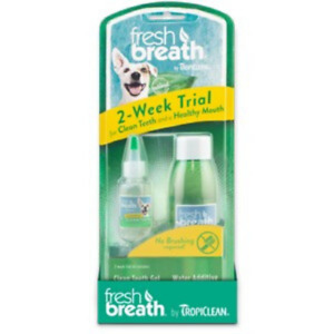 Tropiclean Fresh Breath Oral Dog Dental Puppy 2 Week Trial Kit To Remove Plaque
