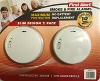 First Alert Smoke & Fire Detector 10 Yr Lithium Cell Slim Design 2 Pack New