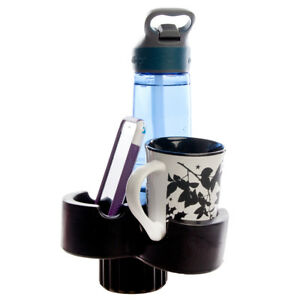 Trio Car Cup & Phone Holder Expander Organizer Turns 1 Car Cup Holder Into 3