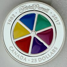 2017 $25 35th Anniversary of Trivial Pursuit Game Pure Silver Piedfort Proof