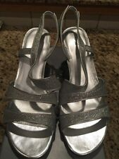 Apt. 9 Women's SZ 9 Crystal Silver Glitter Prom/Formal Strap Shoes *New In Box*