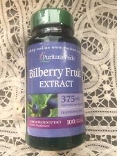 New Bottle Puritans Pride Bilberry Fruit Extract 375mg 100 Capsules Eye Health