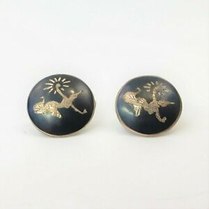 Vintage Earrings Siam Sterling Silver Clip On Black Niello Goddess Round Small
